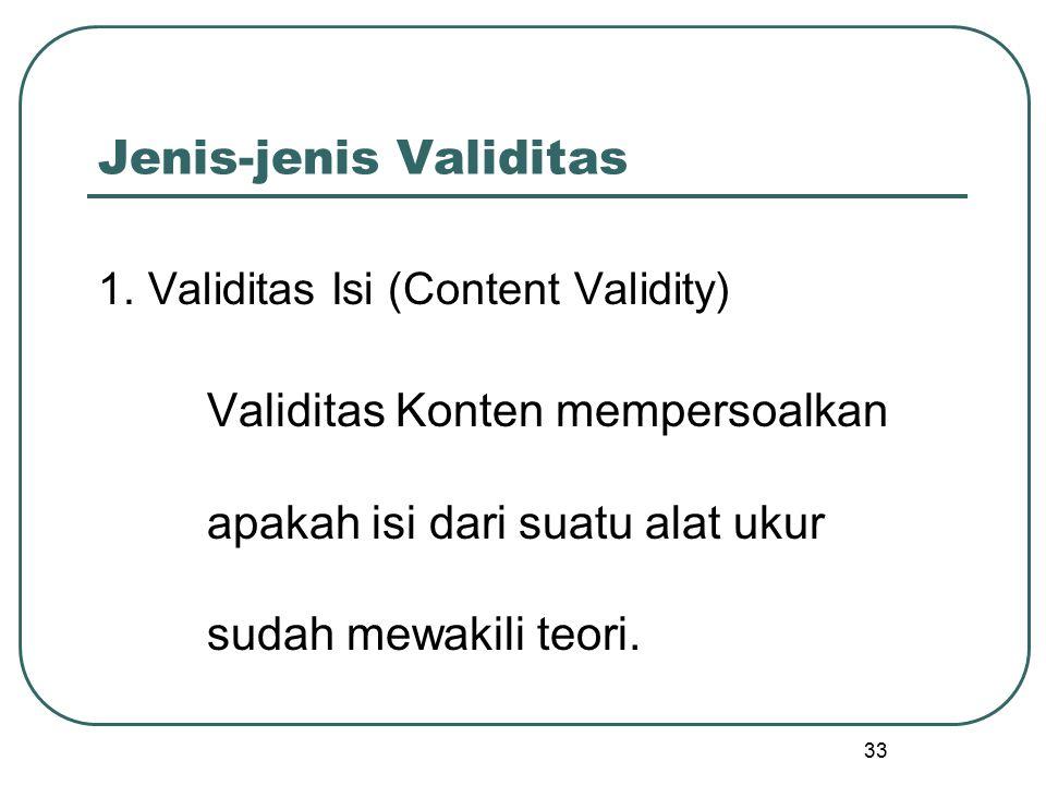 Jenis-jenis Validitas