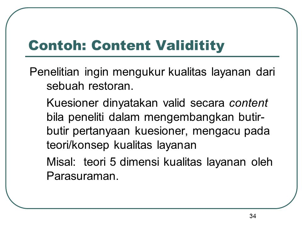 Contoh: Content Validitity