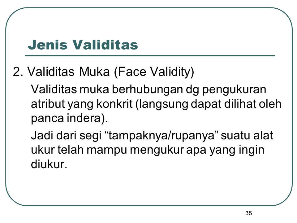 Jenis Validitas 2. Validitas Muka (Face Validity)