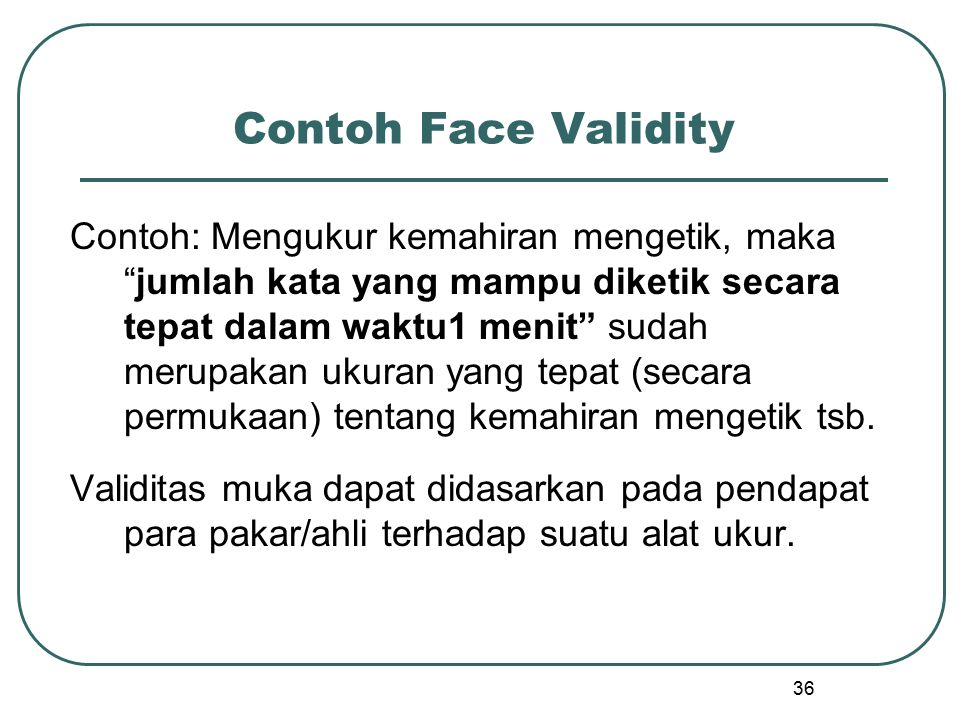 Contoh Face Validity