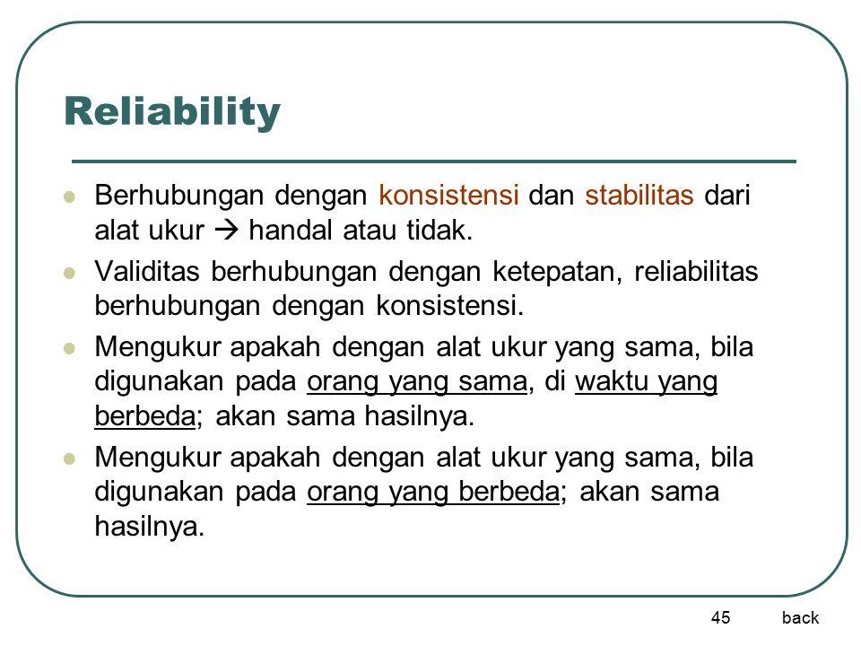 Reliability Berhubungan dengan konsistensi dan stabilitas dari alat ukur  handal atau tidak.