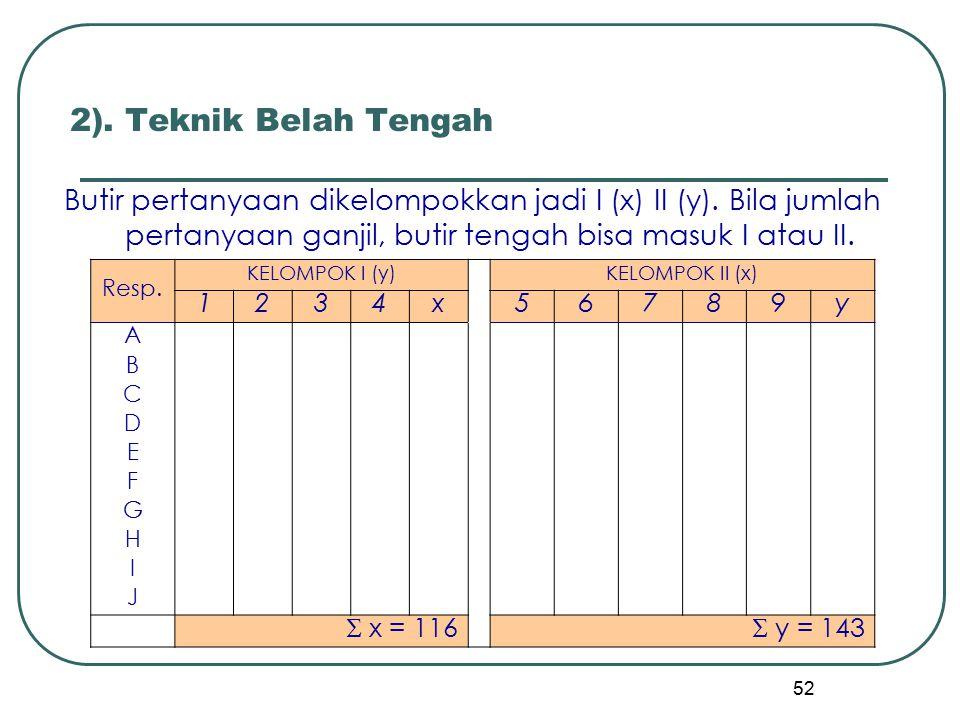 2). Teknik Belah Tengah Butir pertanyaan dikelompokkan jadi I (x) II (y). Bila jumlah pertanyaan ganjil, butir tengah bisa masuk I atau II.