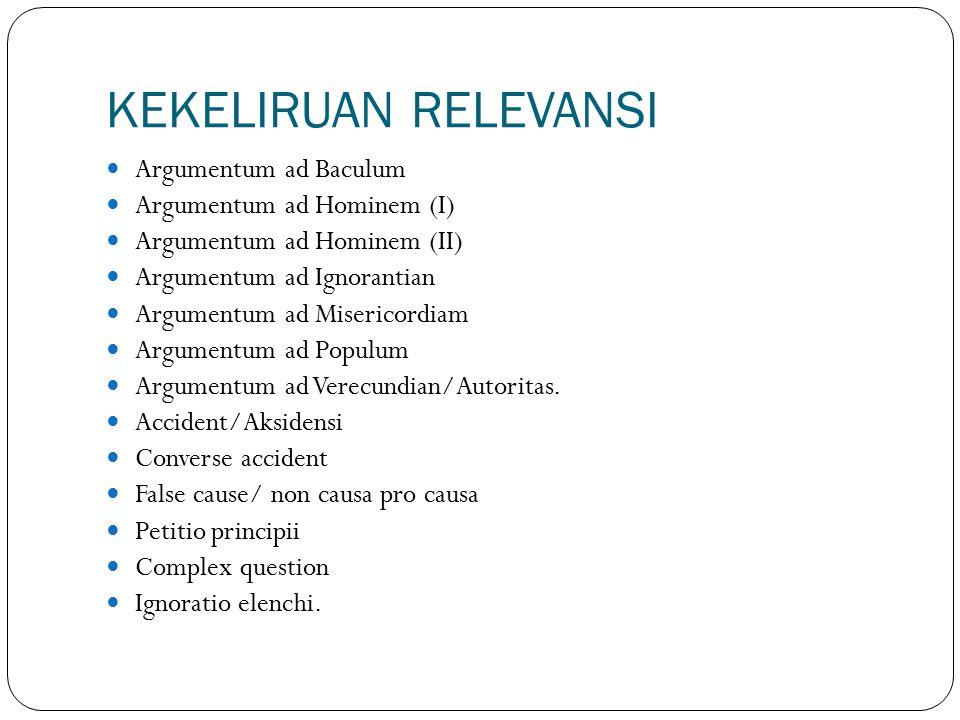 KEKELIRUAN RELEVANSI Argumentum ad Baculum Argumentum ad Hominem (I)