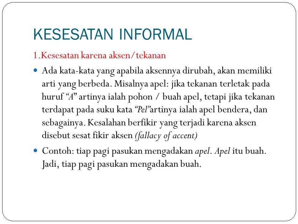 KESESATAN INFORMAL 1.Kesesatan karena aksen/tekanan