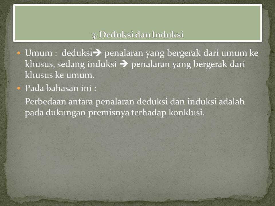 3. Deduksi dan Induksi Umum : deduksi penalaran yang bergerak dari umum ke khusus, sedang induksi  penalaran yang bergerak dari khusus ke umum.
