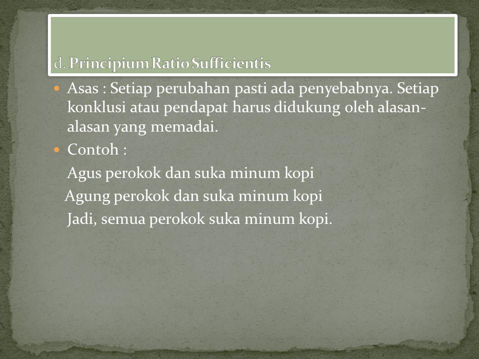 d. Principium Ratio Sufficientis
