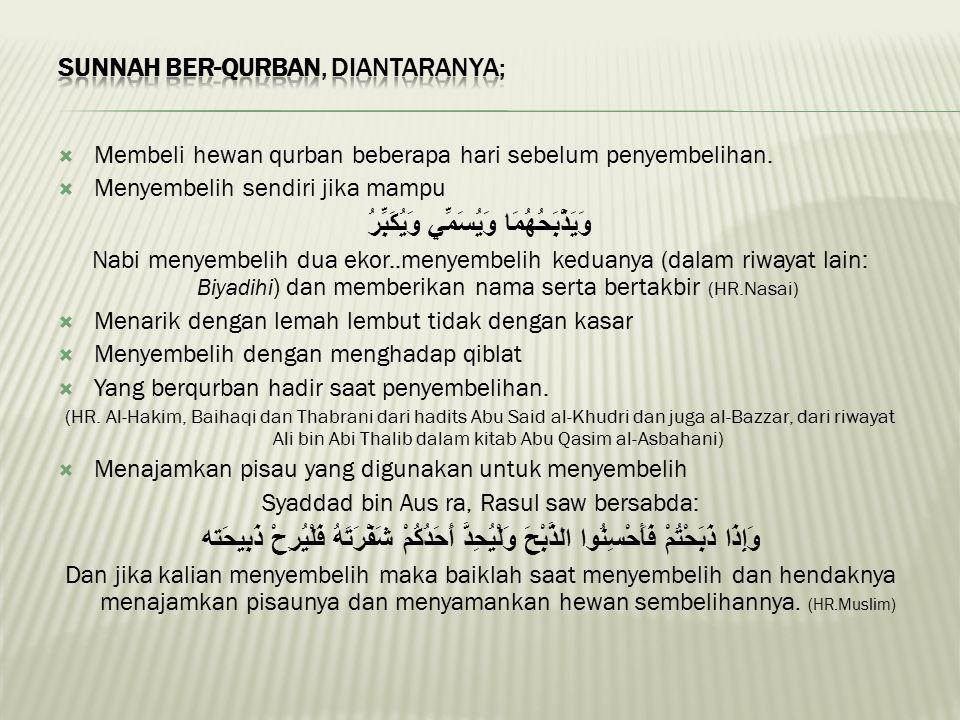 Sunnah ber-Qurban, diantaranya;