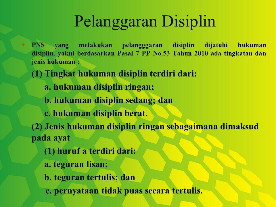 Pelanggaran Disiplin (1) Tingkat hukuman disiplin terdiri dari: