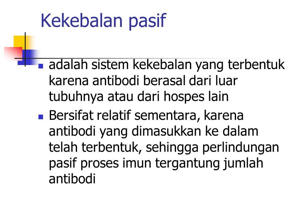 Kekebalan pasif adalah sistem kekebalan yang terbentuk karena antibodi berasal dari luar tubuhnya atau dari hospes lain.
