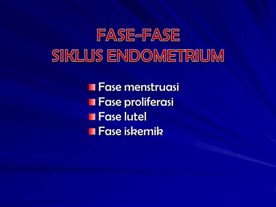 FASE-FASE SIKLUS ENDOMETRIUM Fase menstruasi Fase proliferasi