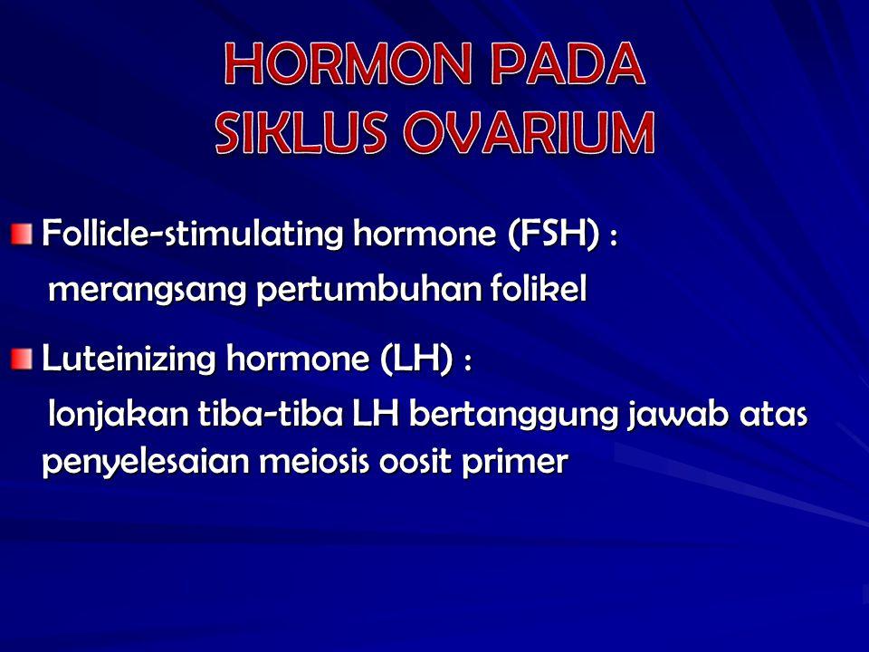 HORMON PADA SIKLUS OVARIUM Follicle-stimulating hormone (FSH) :