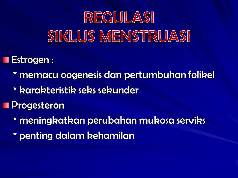 REGULASI SIKLUS MENSTRUASI Estrogen :