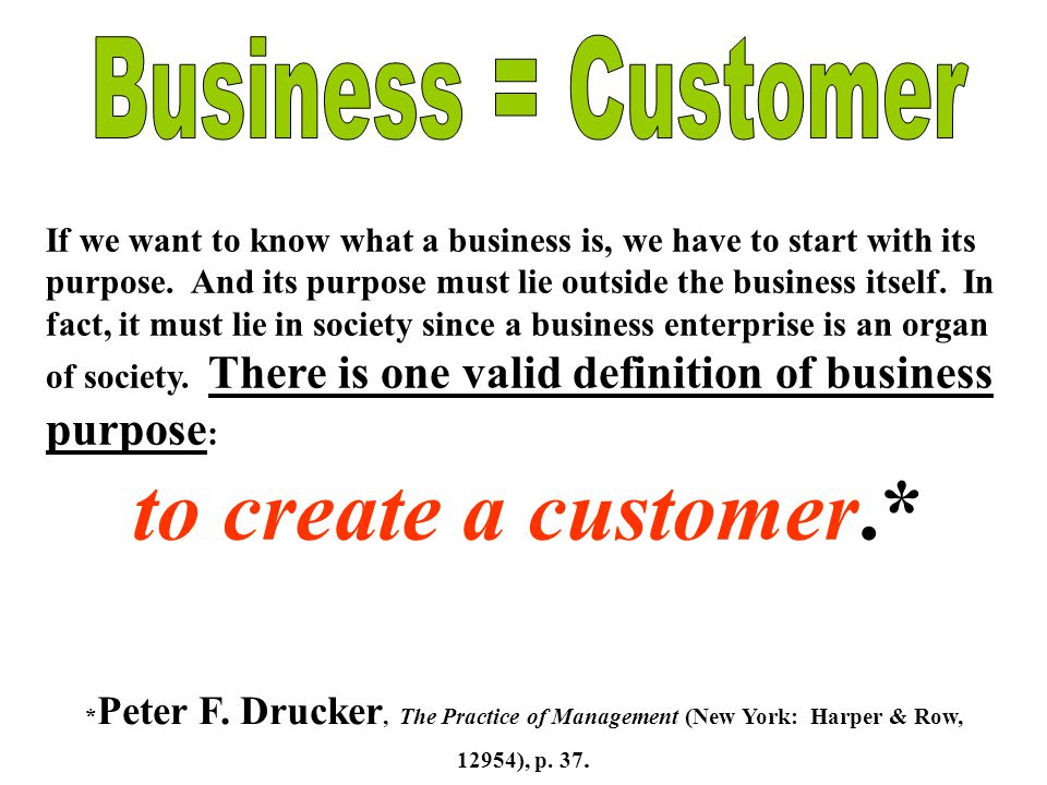 to create a customer.* Business = Customer