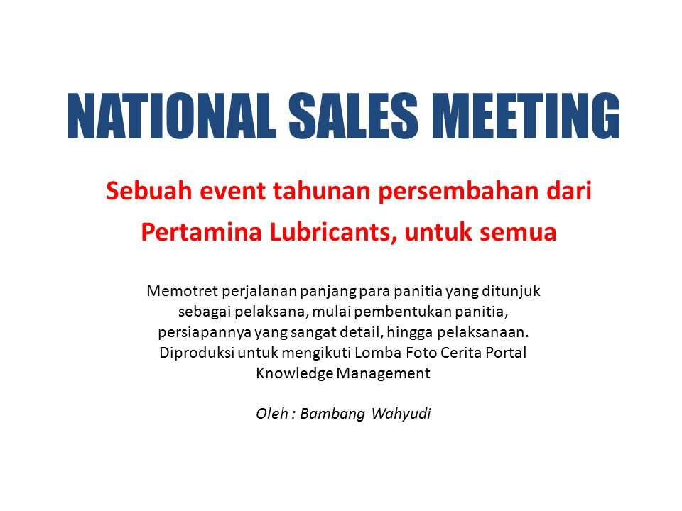 NATIONAL SALES MEETING