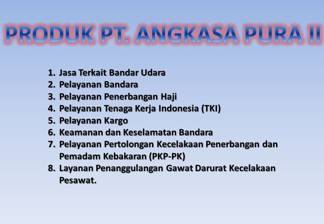 PRODUK PT. ANGKASA PURA II