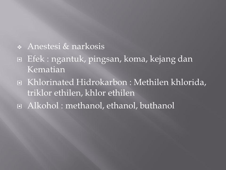 Anestesi & narkosis Efek : ngantuk, pingsan, koma, kejang dan Kematian. Khlorinated Hidrokarbon : Methilen khlorida, triklor ethilen, khlor ethilen.