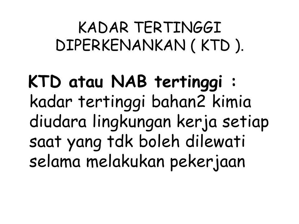 KADAR TERTINGGI DIPERKENANKAN ( KTD ).