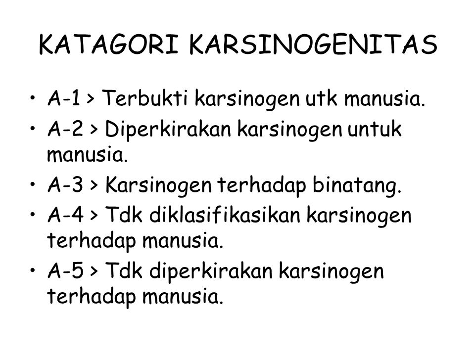 KATAGORI KARSINOGENITAS