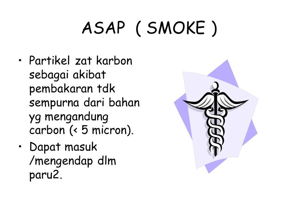 ASAP ( SMOKE ) Partikel zat karbon sebagai akibat pembakaran tdk sempurna dari bahan yg mengandung carbon (< 5 micron).