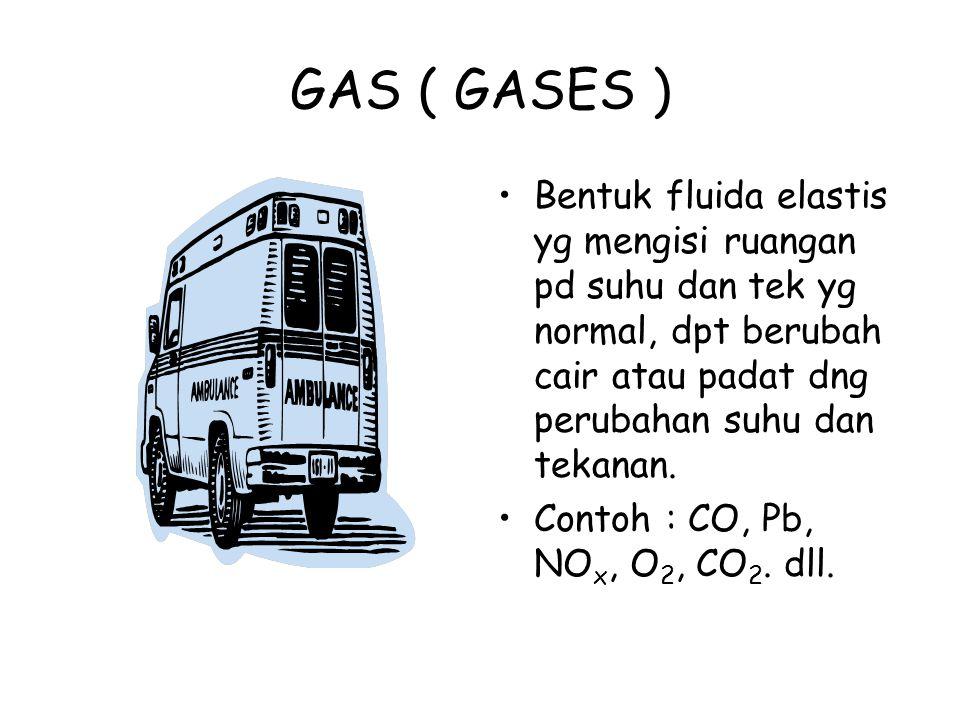 GAS ( GASES ) Bentuk fluida elastis yg mengisi ruangan pd suhu dan tek yg normal, dpt berubah cair atau padat dng perubahan suhu dan tekanan.