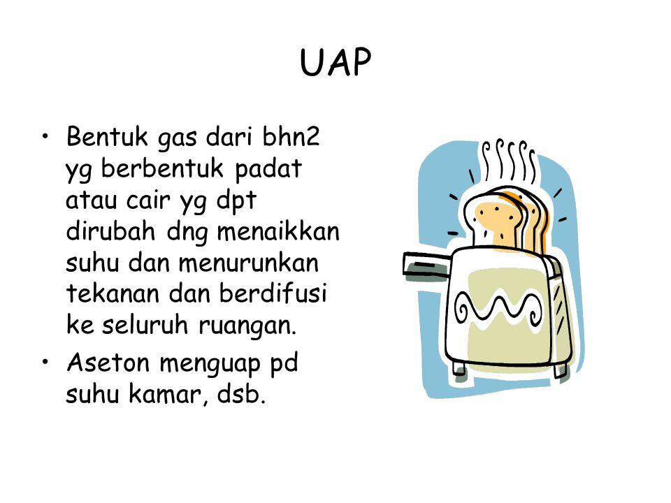 UAP Bentuk gas dari bhn2 yg berbentuk padat atau cair yg dpt dirubah dng menaikkan suhu dan menurunkan tekanan dan berdifusi ke seluruh ruangan.