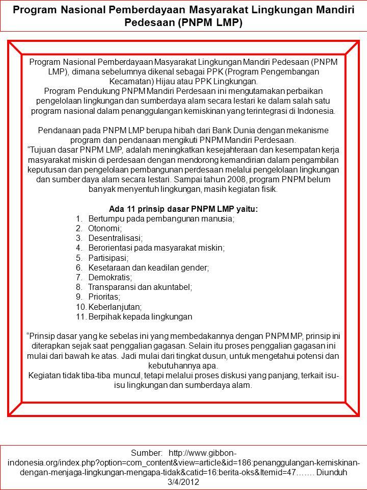 Ada 11 prinsip dasar PNPM LMP yaitu:
