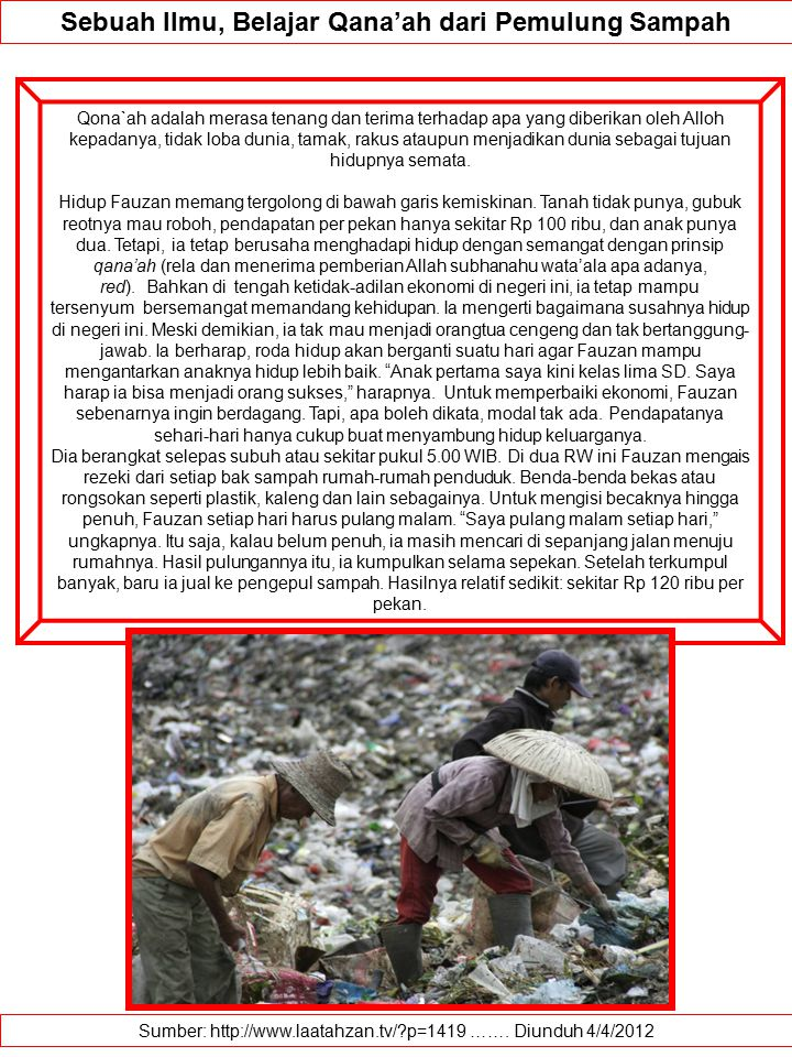 Sebuah Ilmu, Belajar Qana'ah dari Pemulung Sampah
