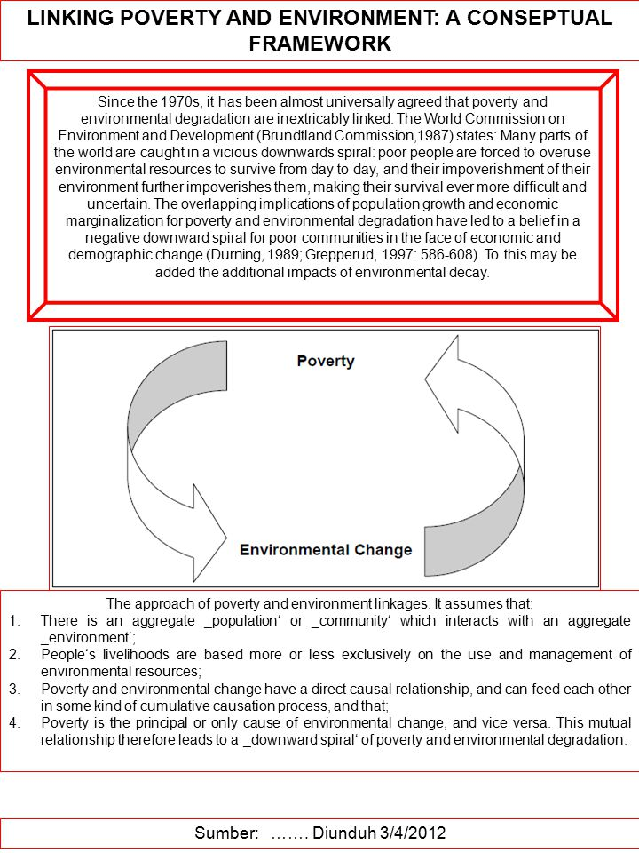 LINKING POVERTY AND ENVIRONMENT: A CONSEPTUAL FRAMEWORK