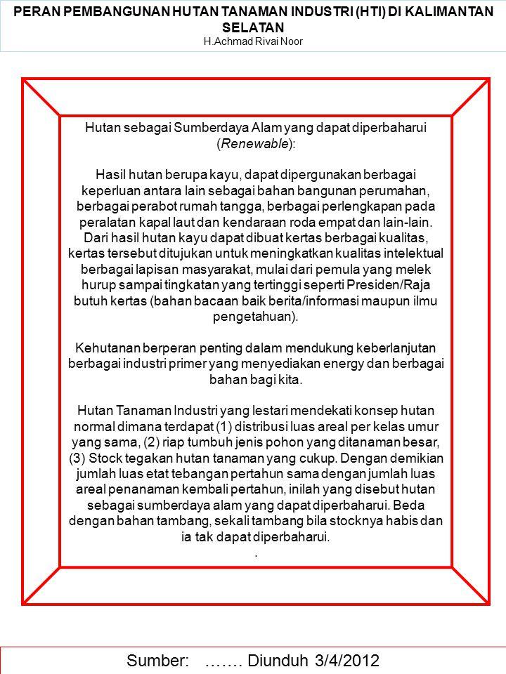 PERAN PEMBANGUNAN HUTAN TANAMAN INDUSTRI (HTI) DI KALIMANTAN SELATAN