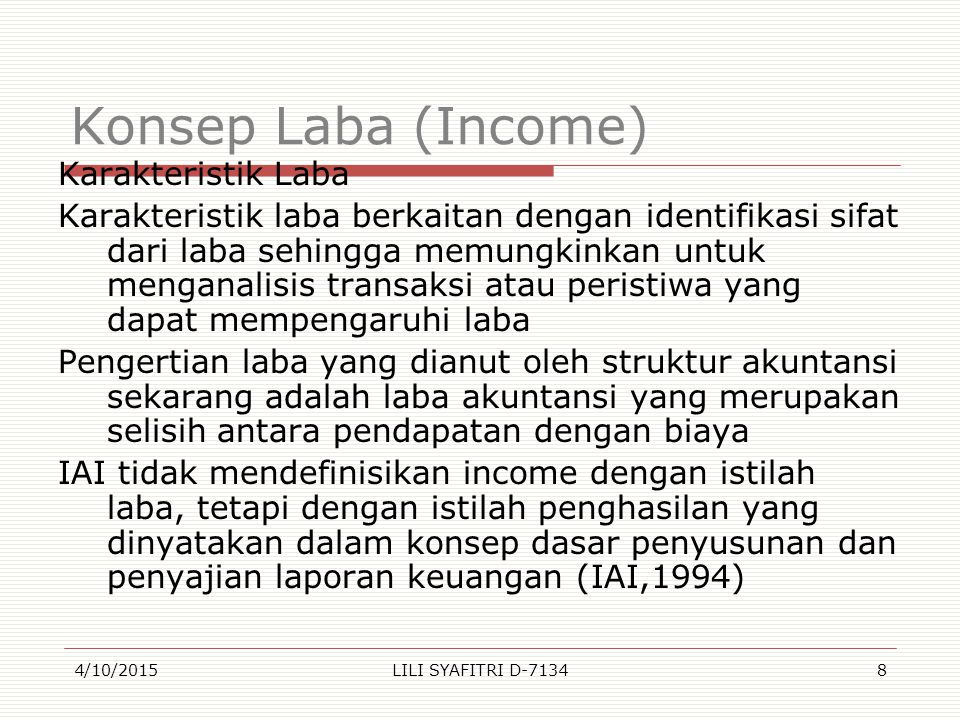 Konsep Laba (Income)