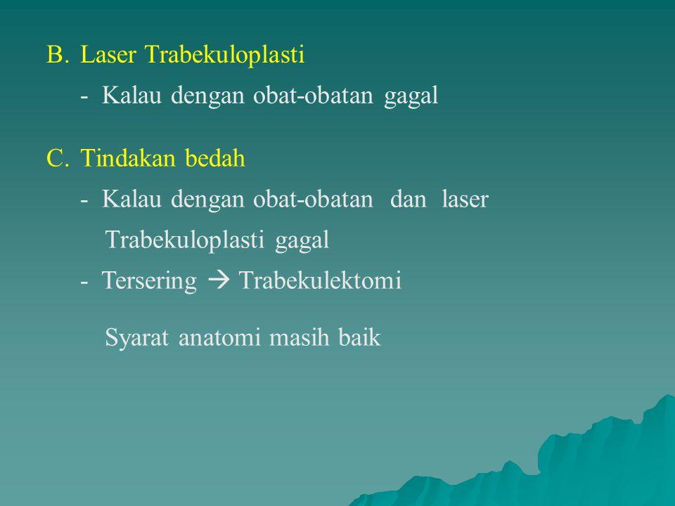 B. Laser Trabekuloplasti - Kalau dengan obat-obatan gagal