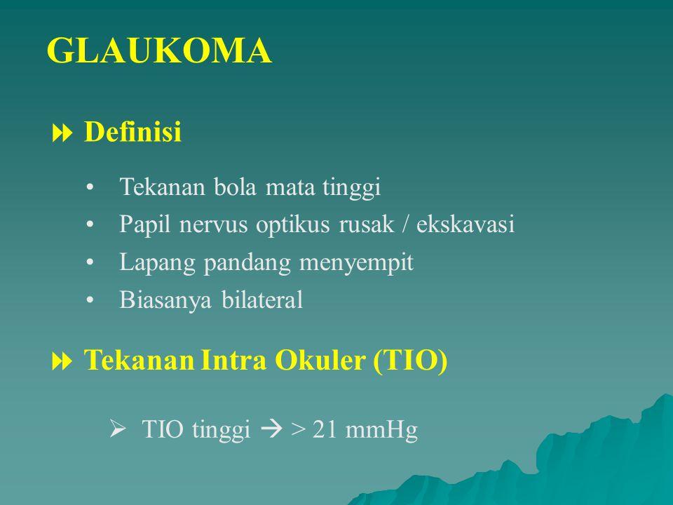 GLAUKOMA  Definisi  Tekanan Intra Okuler (TIO)