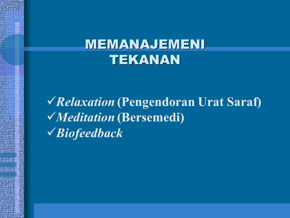 MEMANAJEMENI TEKANAN Relaxation (Pengendoran Urat Saraf) Meditation (Bersemedi) Biofeedback