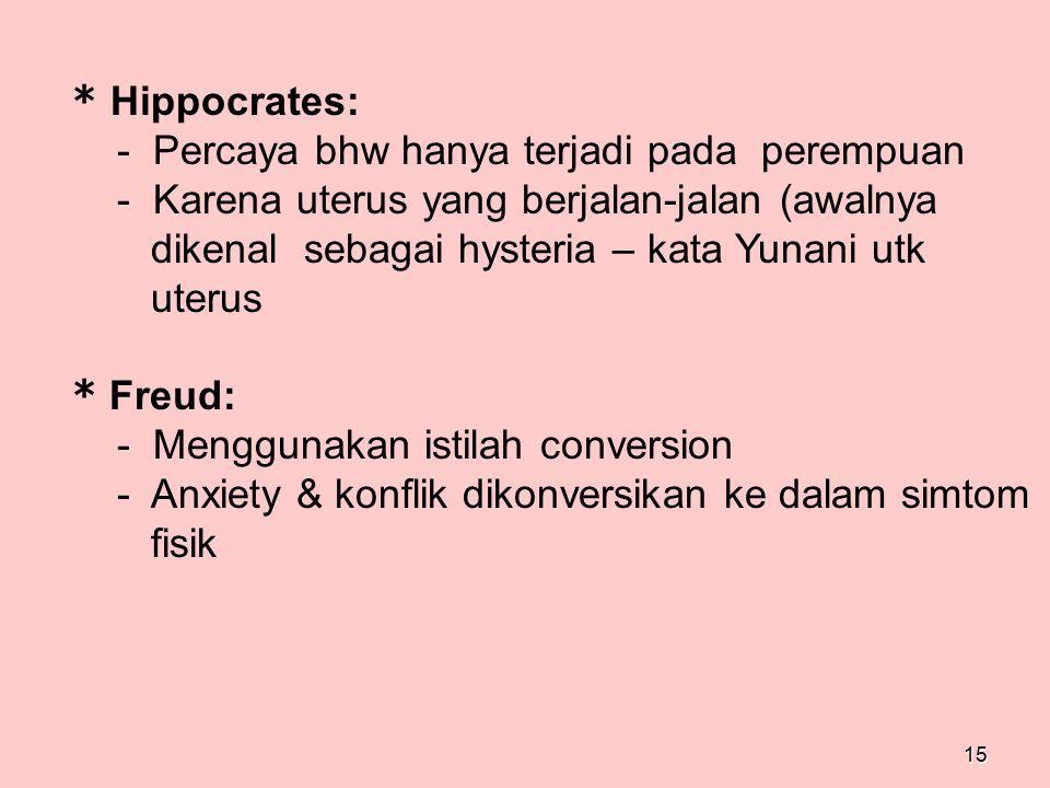 * Hippocrates: - Percaya bhw hanya terjadi pada perempuan. - Karena uterus yang berjalan-jalan (awalnya.
