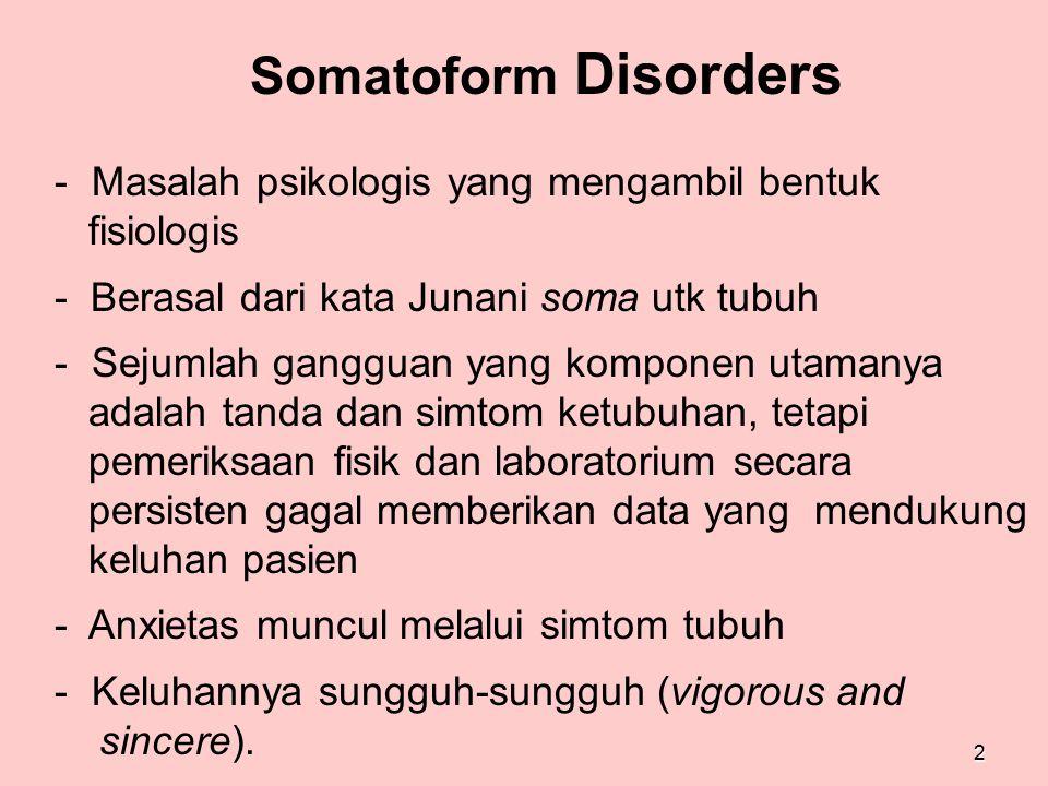 Somatoform Disorders Masalah psikologis yang mengambil bentuk