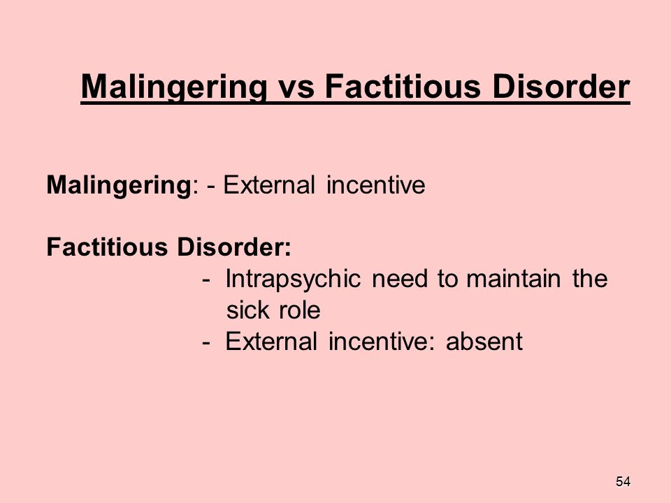 Malingering vs Factitious Disorder