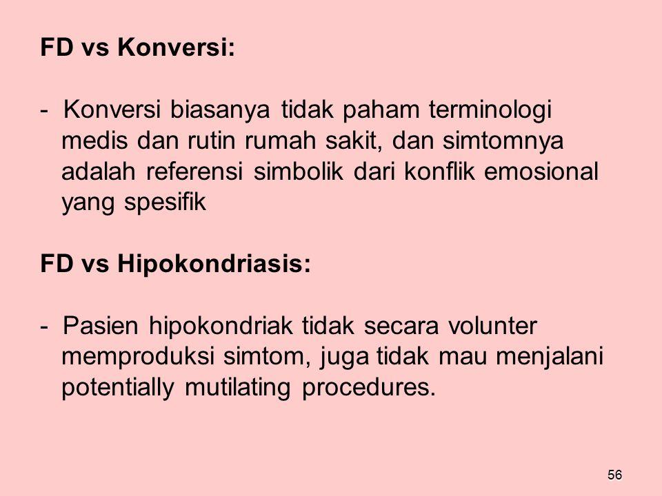 FD vs Konversi: Konversi biasanya tidak paham terminologi. medis dan rutin rumah sakit, dan simtomnya.