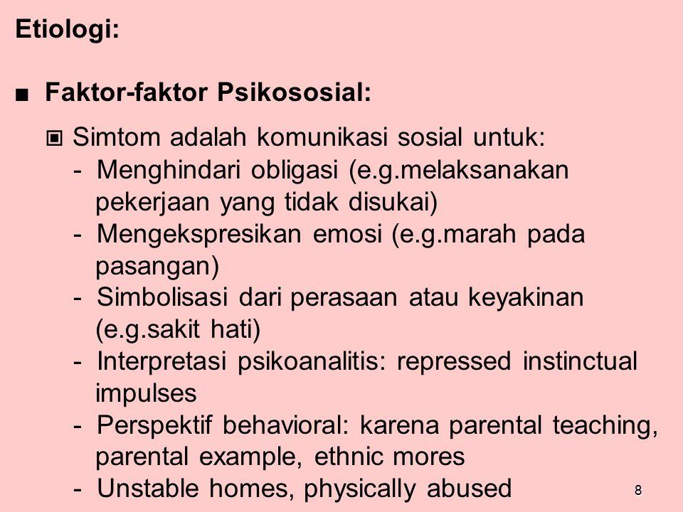 ■ Faktor-faktor Psikososial: ▣ Simtom adalah komunikasi sosial untuk: