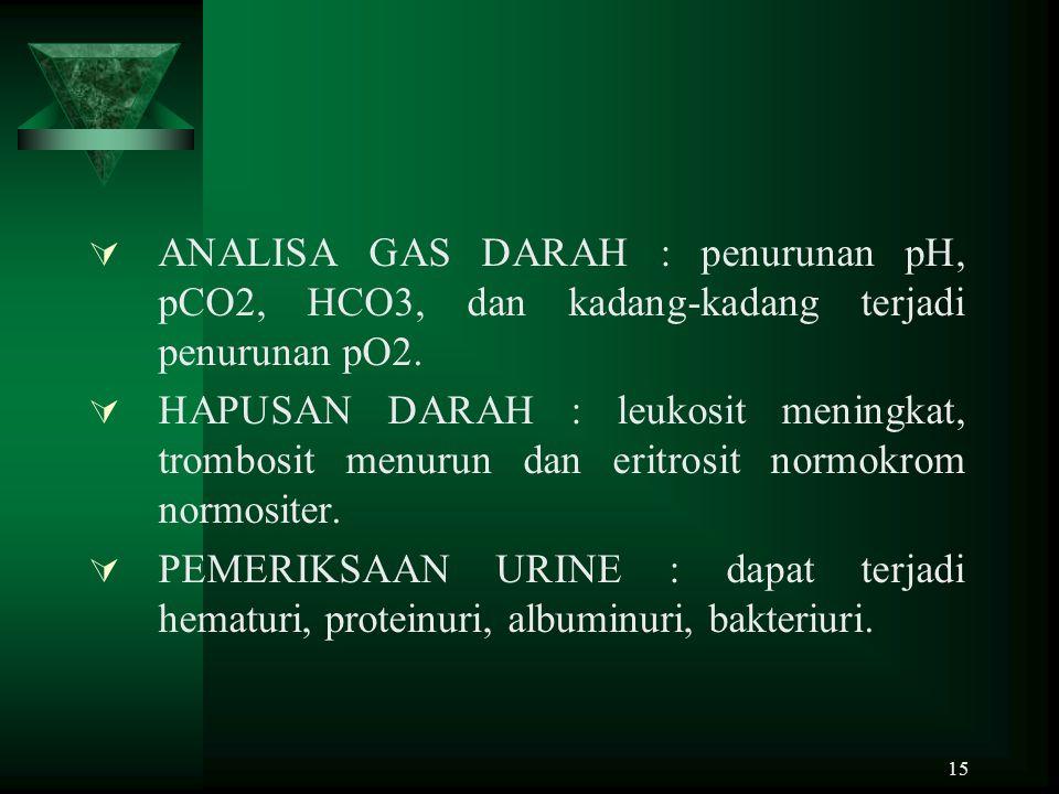 ANALISA GAS DARAH : penurunan pH, pCO2, HCO3, dan kadang-kadang terjadi penurunan pO2.