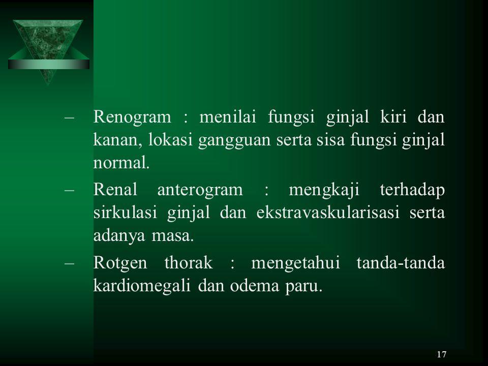 Renogram : menilai fungsi ginjal kiri dan kanan, lokasi gangguan serta sisa fungsi ginjal normal.