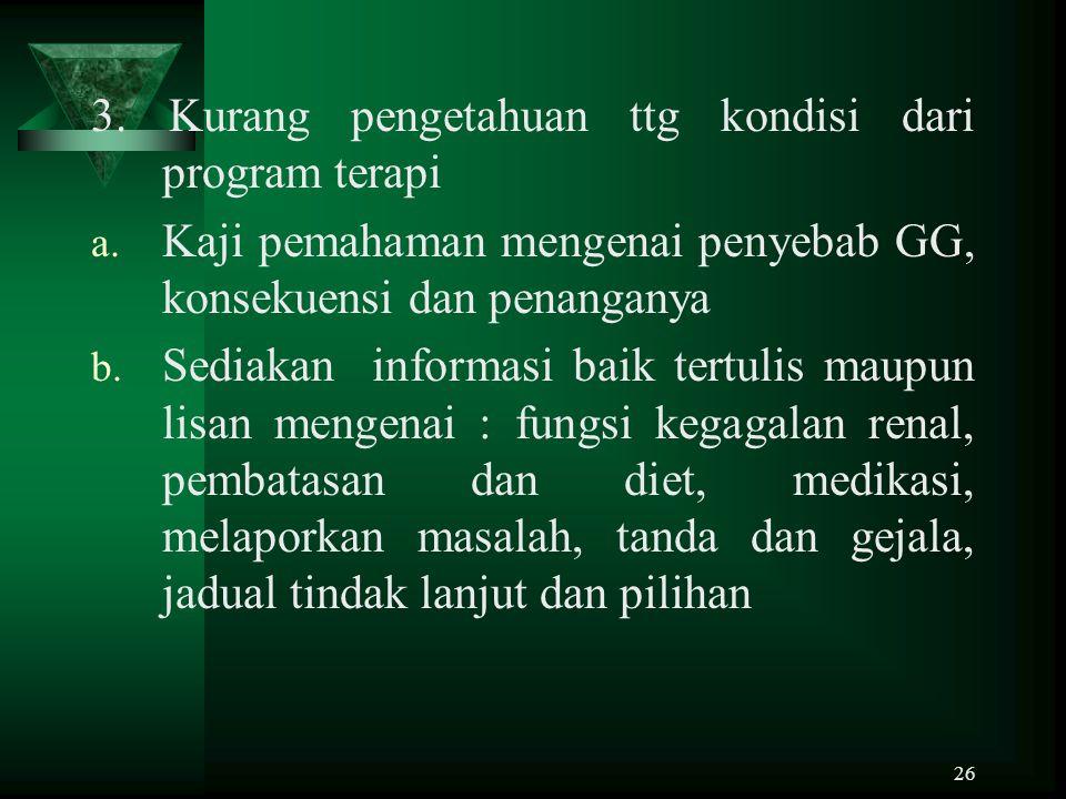 3. Kurang pengetahuan ttg kondisi dari program terapi