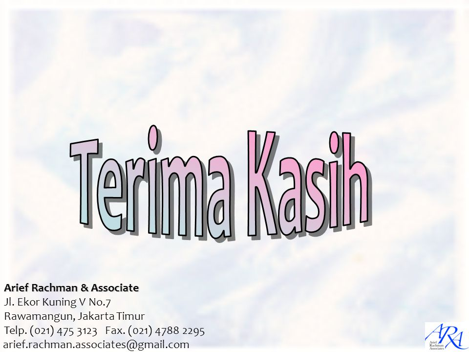 Terima Kasih Arief Rachman & Associate Jl. Ekor Kuning V No.7