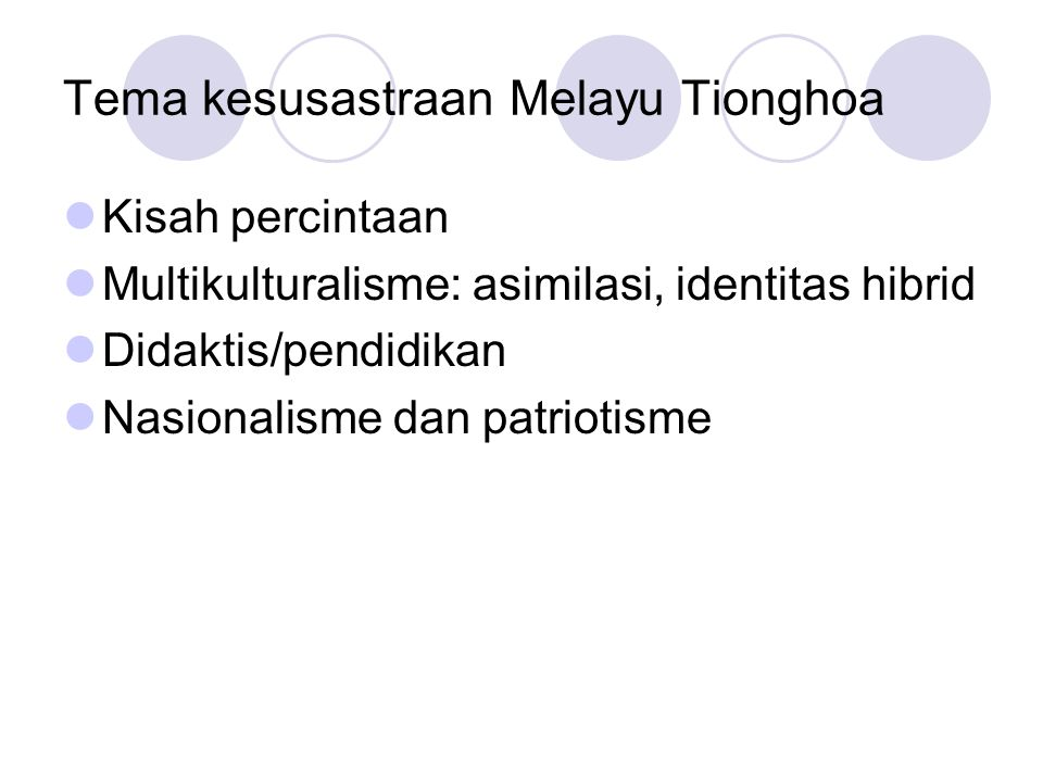 Tema kesusastraan Melayu Tionghoa