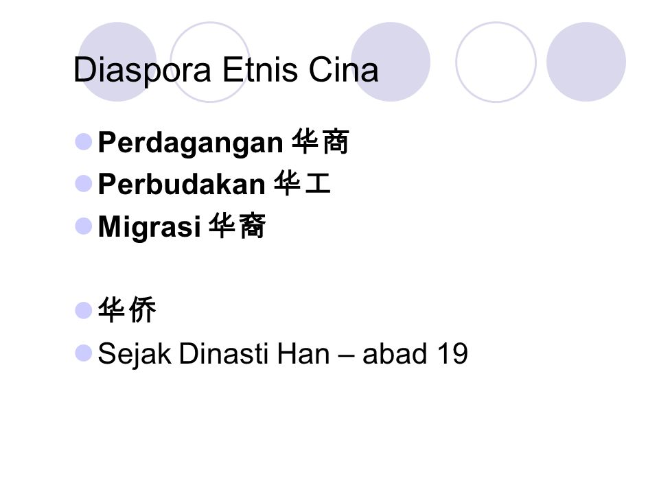 Diaspora Etnis Cina Perdagangan 华商 Perbudakan 华工 Migrasi 华裔 华侨