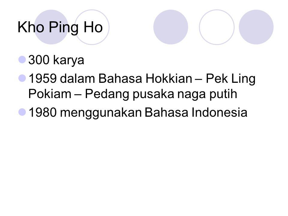 Kho Ping Ho 300 karya. 1959 dalam Bahasa Hokkian – Pek Ling Pokiam – Pedang pusaka naga putih.