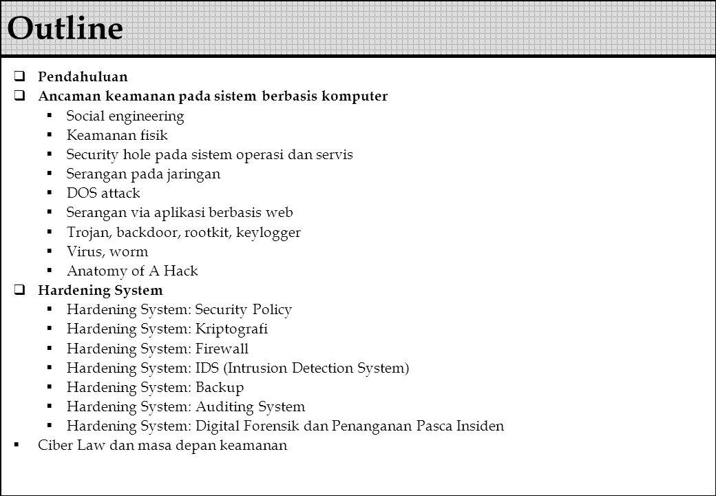 Outline Pendahuluan Ancaman keamanan pada sistem berbasis komputer
