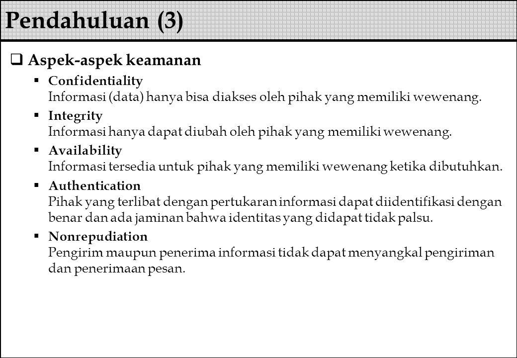 Pendahuluan (3) Aspek-aspek keamanan