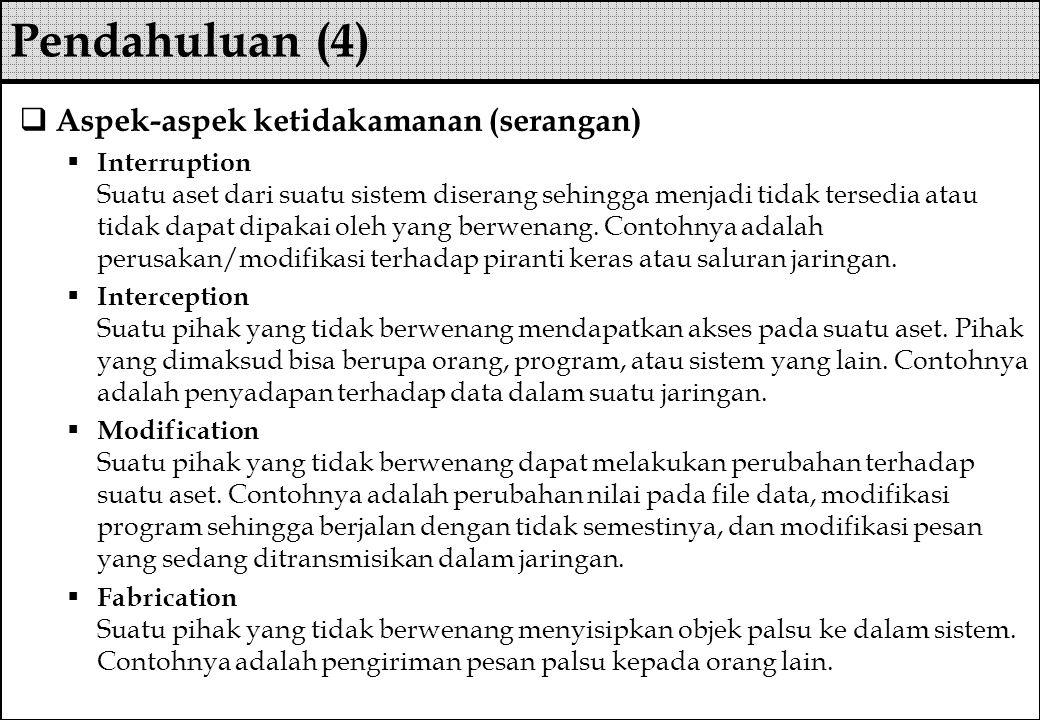 Pendahuluan (4) Aspek-aspek ketidakamanan (serangan)