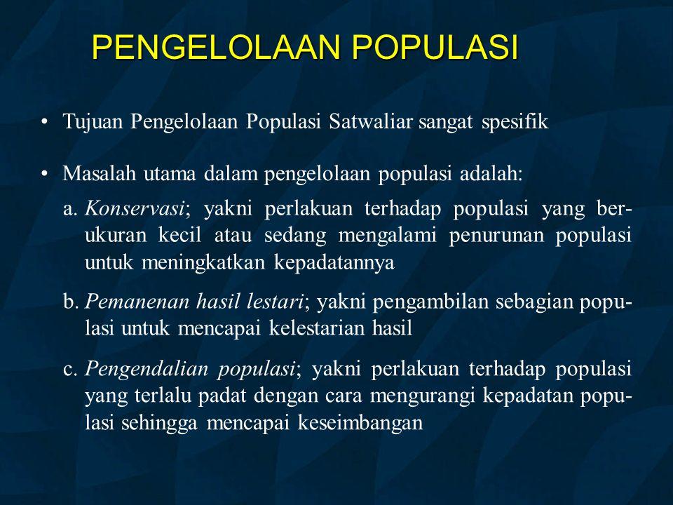 PENGELOLAAN POPULASI Tujuan Pengelolaan Populasi Satwaliar sangat spesifik. Masalah utama dalam pengelolaan populasi adalah: