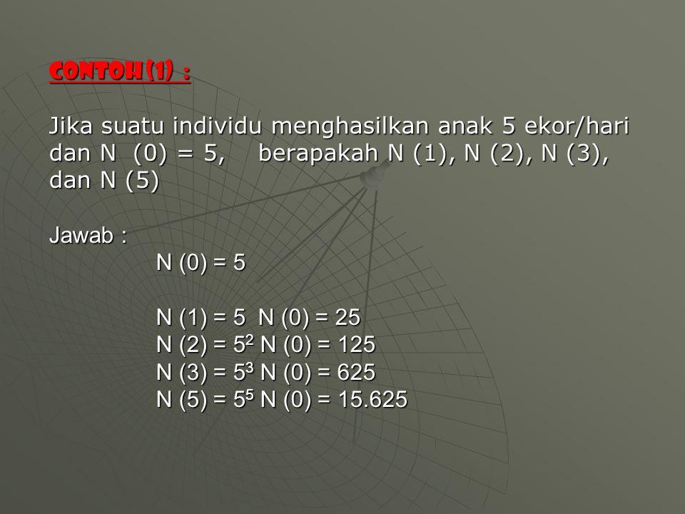 Contoh (1) : Jika suatu individu menghasilkan anak 5 ekor/hari dan N (0) = 5, berapakah N (1), N (2), N (3), dan N (5) Jawab : N (0) = 5 N (1) = 5 N (0) = 25 N (2) = 52 N (0) = 125 N (3) = 53 N (0) = 625 N (5) = 55 N (0) = 15.625